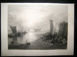 After Turner 1862 Antique Print, The Sun Rising in a Mist, Maritime, Art Journal